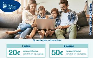 Liberty te reembolsa hasta 50€ por tus seguros de vida